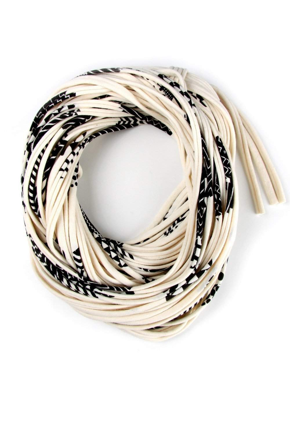 Cream White with Black Pattern / Cowl-scarves-Necklush