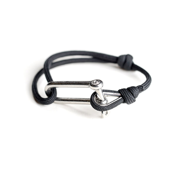 Paracord Nautical Bracelet with Stainless Steel Shackle - Black