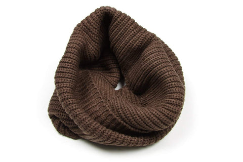 Dark Brown Knit Cowl, Infinity Scarf, Mens, Womens, Circle Loop-scarves-Necklush