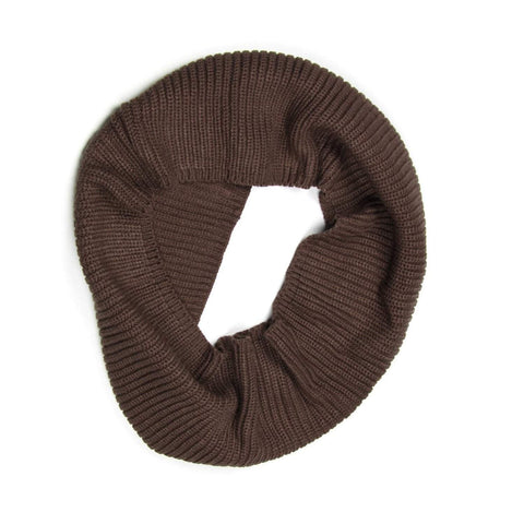 Dark Brown Knit Cowl, Infinity Scarf, Mens, Womens, Circle L