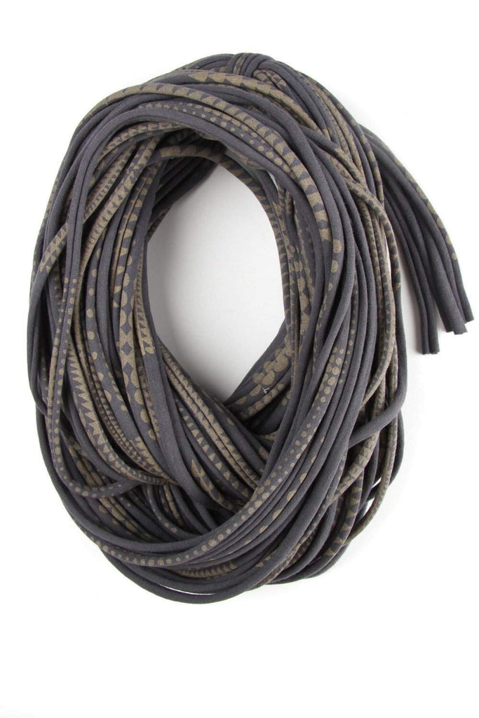 Dark Gray with Geometric Gold Print / Cowl-scarves-Necklush