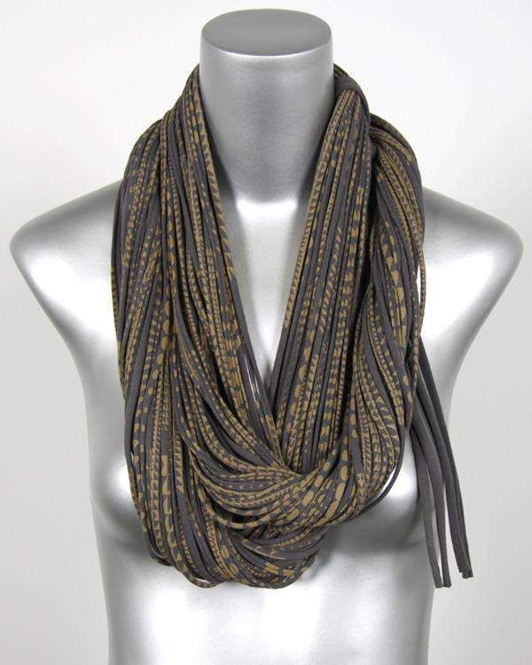 Dark Grey Gold Chunky Scarf-scarves-Necklush