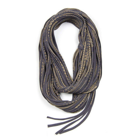 Dark Grey & Gold Scarf / Chunky-scarves-Necklush
