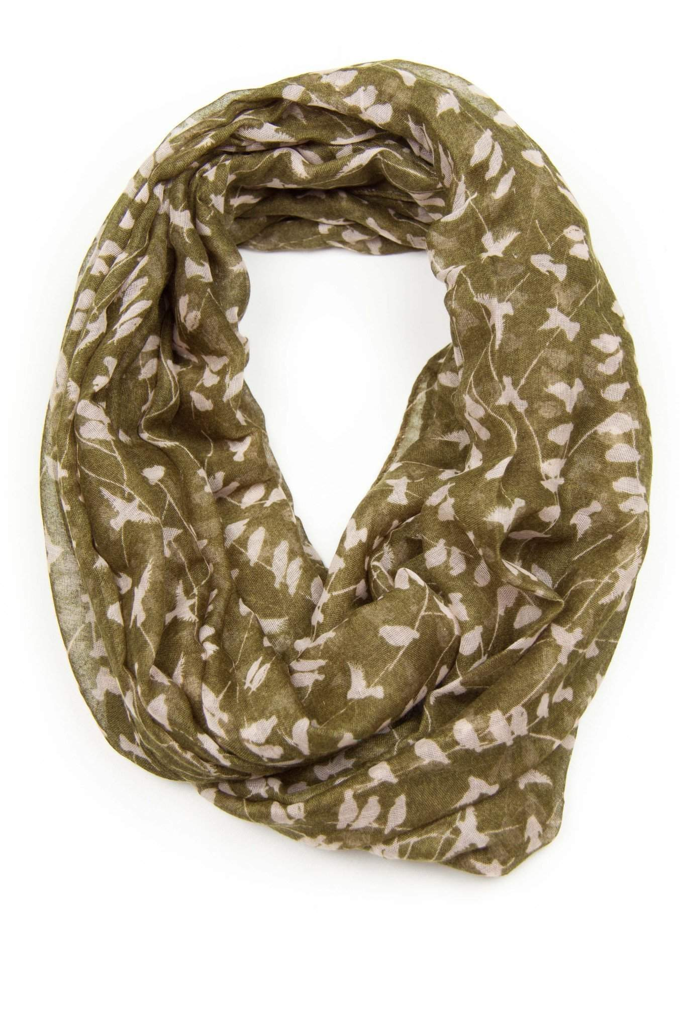 Deep Grass Green Bird Print Infinity Scarf