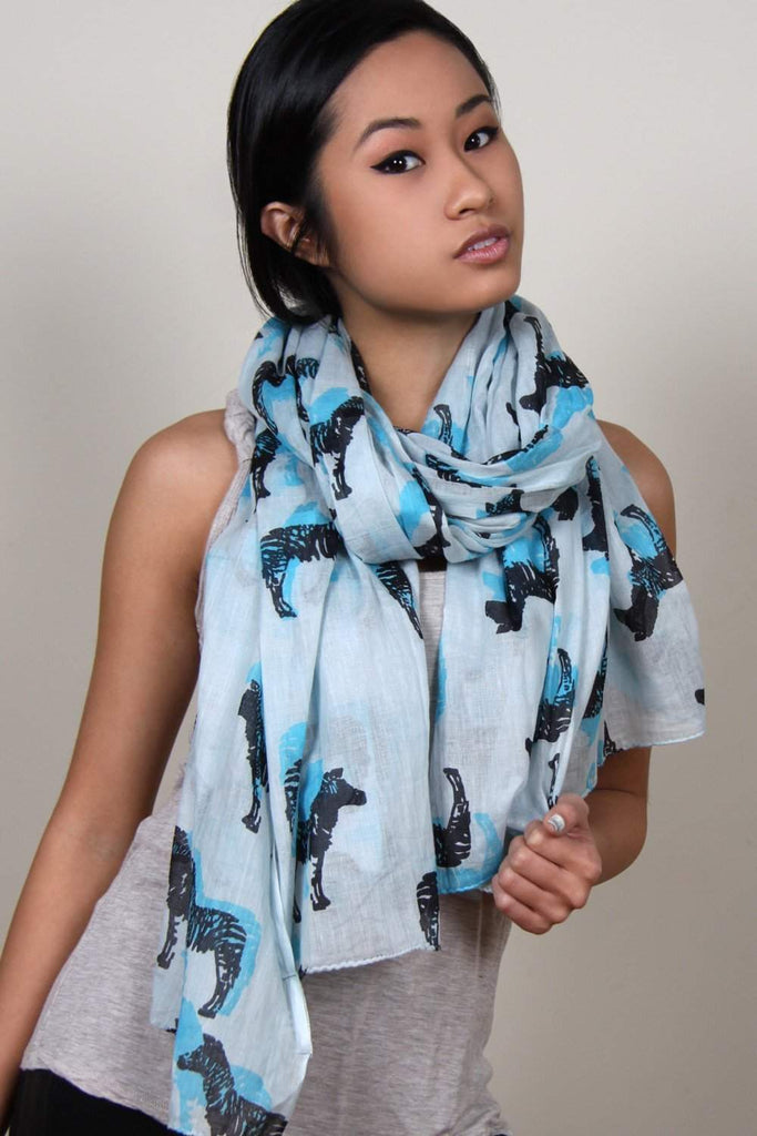 Gray Baby Blue Zebra Print Cotton Scarf-scarves-Necklush