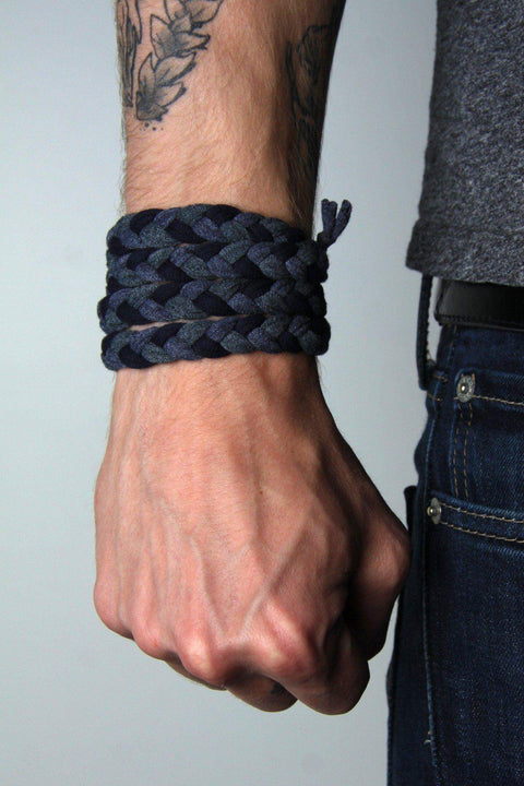 mens bracelet-Gray Navy Braided Bracelet-Necklush