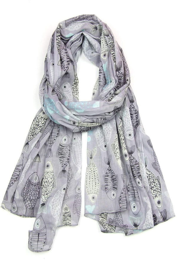 Gray Periwinkle Purple Fish Print Scarf-scarves-Necklush