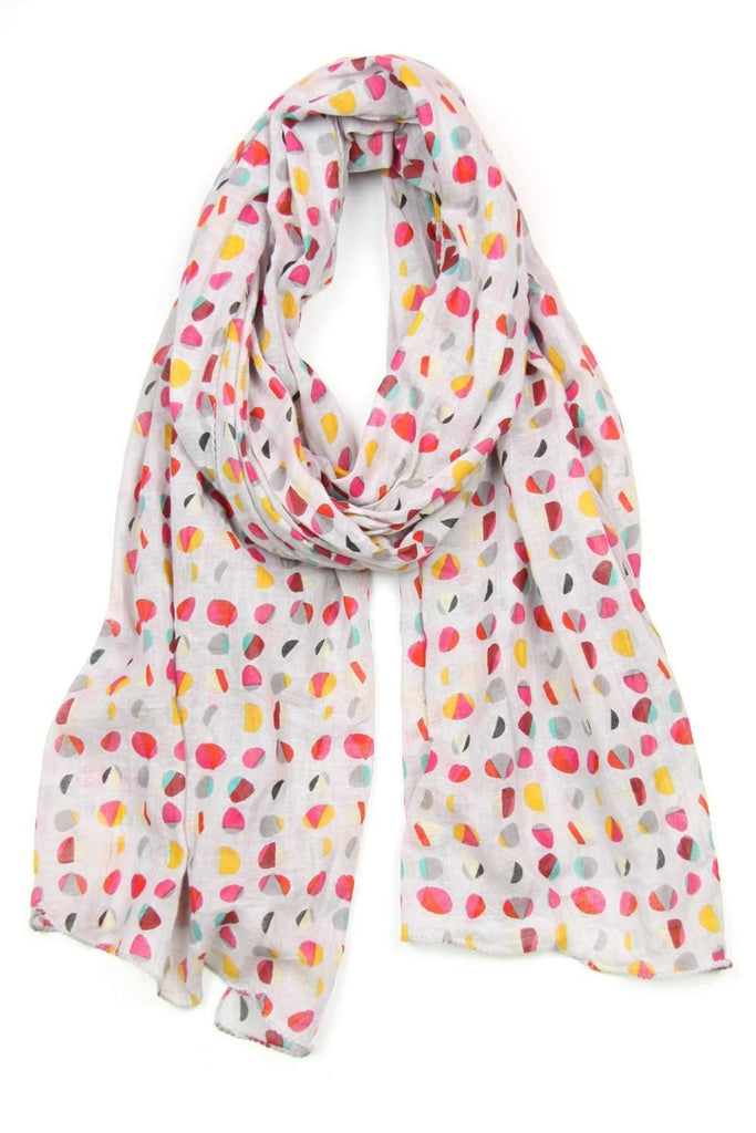 Gray Red Yellow Polka Dot Soft Cotton Scarf-scarves-Necklush