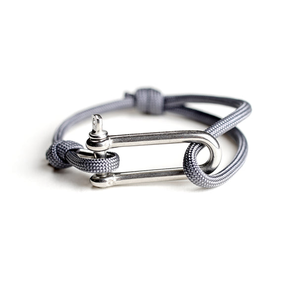 Paracord Nautical Bracelet with Stainless Steel Shackle - Grey