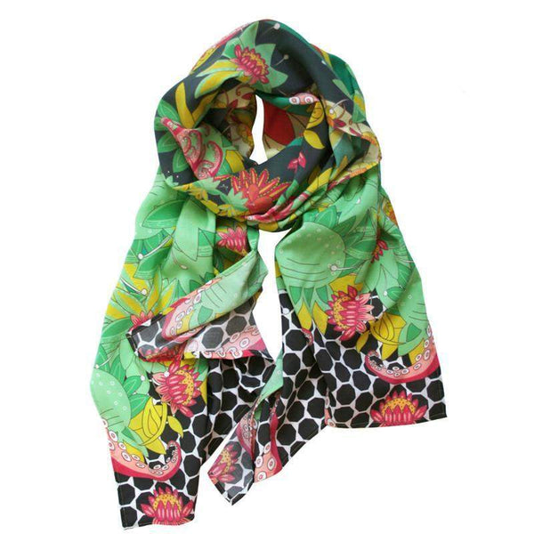 Green Black Red Floral Scarf-scarves-Necklush