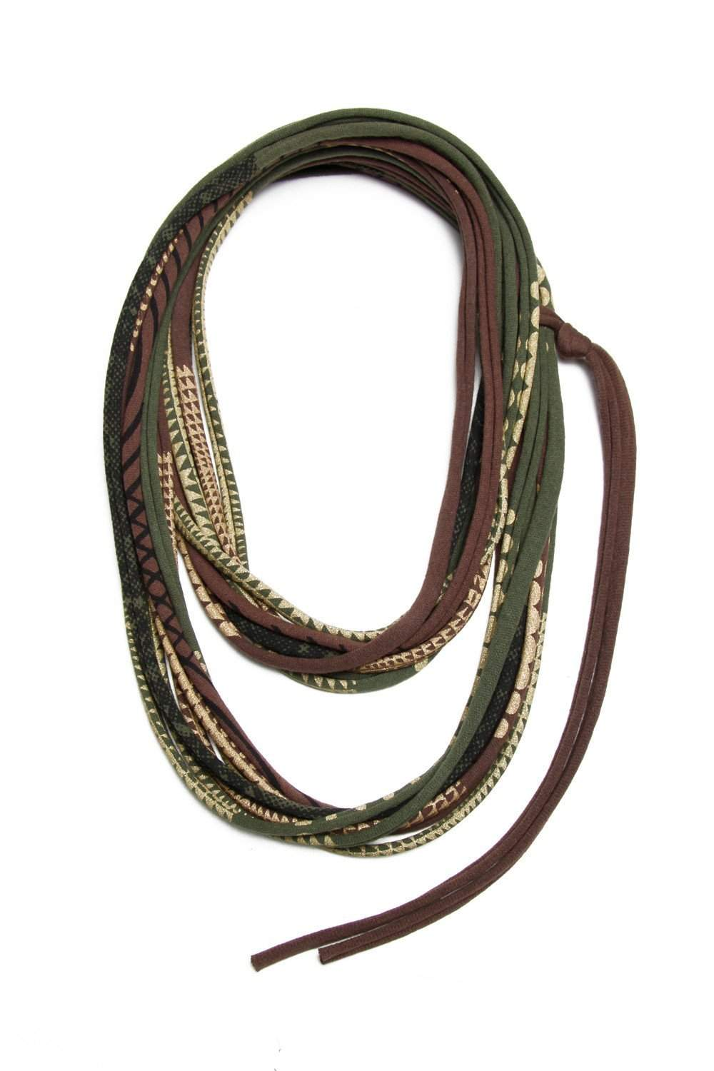 Green Brown Gold Necklace-necklaces-Necklush
