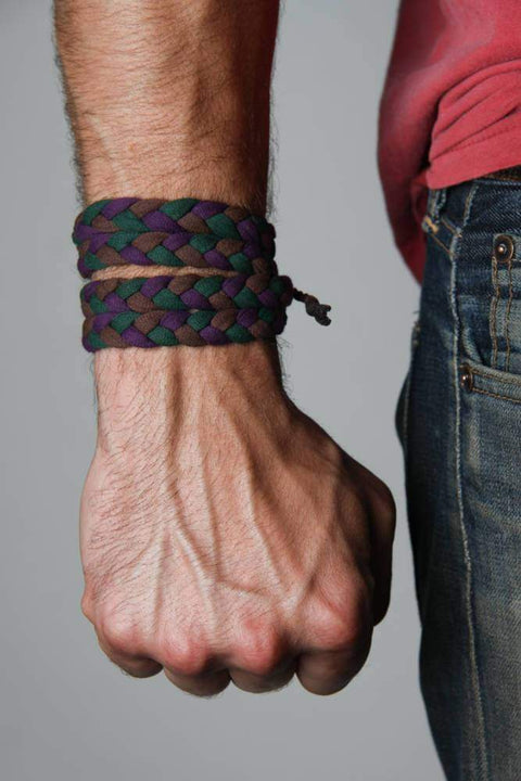 mens bracelet-Green Brown Purple Braided Bracelet-Necklush