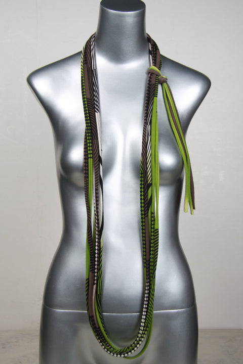 Green and Brown Skinny Scarf Necklace