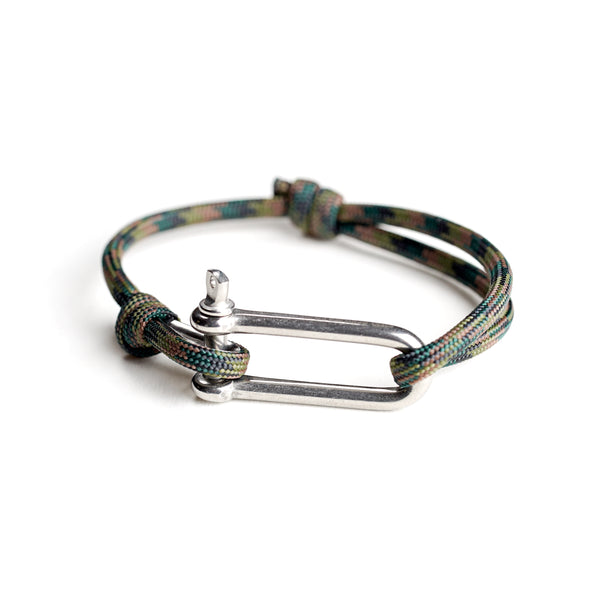 Paracord Nautical Bracelet with Stainless Steel Shackle - Green Camo