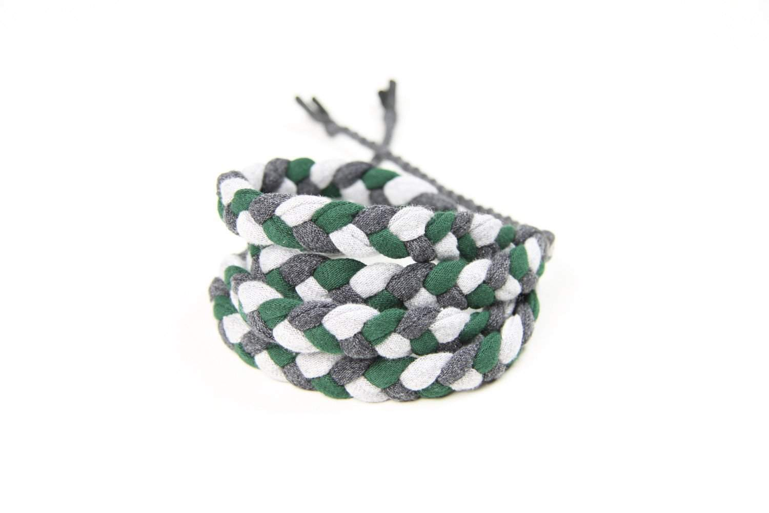mens bracelet-Green Charcoal Gray Braided Bracelet-Necklush