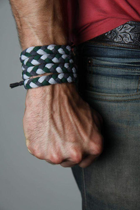 Green Charcoal Gray Braided Bracelet