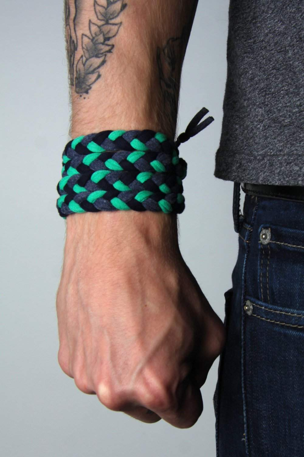 mens bracelet-Green Gray Black Braided Bracelet-Necklush