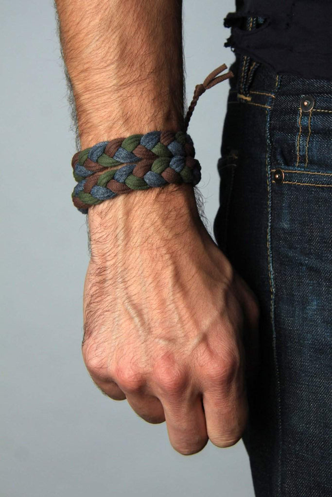 mens bracelet-Green Gray Brown Braided Bracelet-Necklush