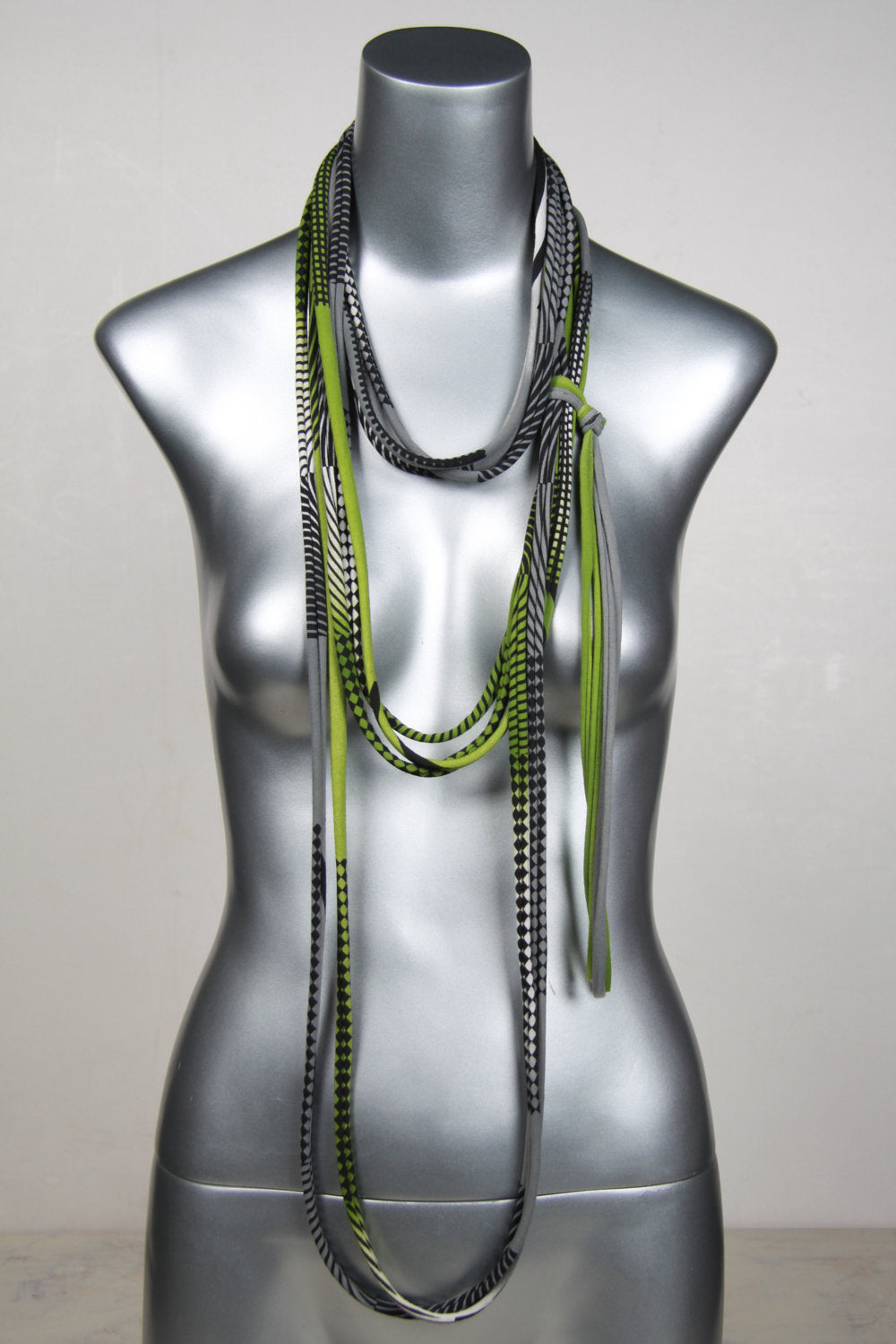 Green & Grey Skinny Scarf Necklace
