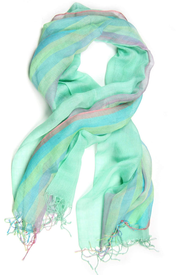 Green Mint Linen Cotton Pastel Scarf-scarves-Necklush