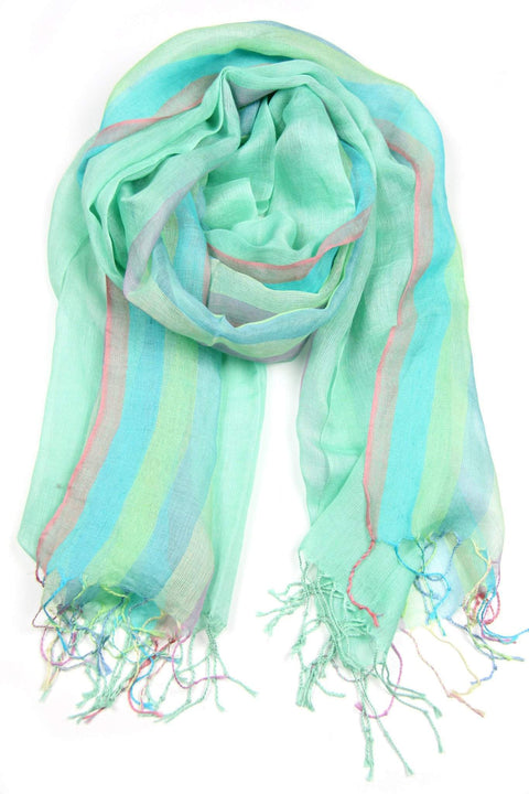 Green Mint Linen Cotton Pastel Scarf