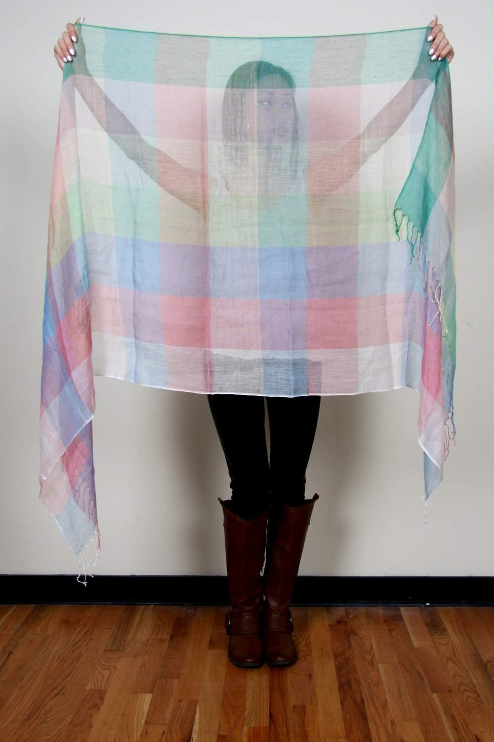 Green Peach Blue Purple Plaid Scarf-scarves-Necklush
