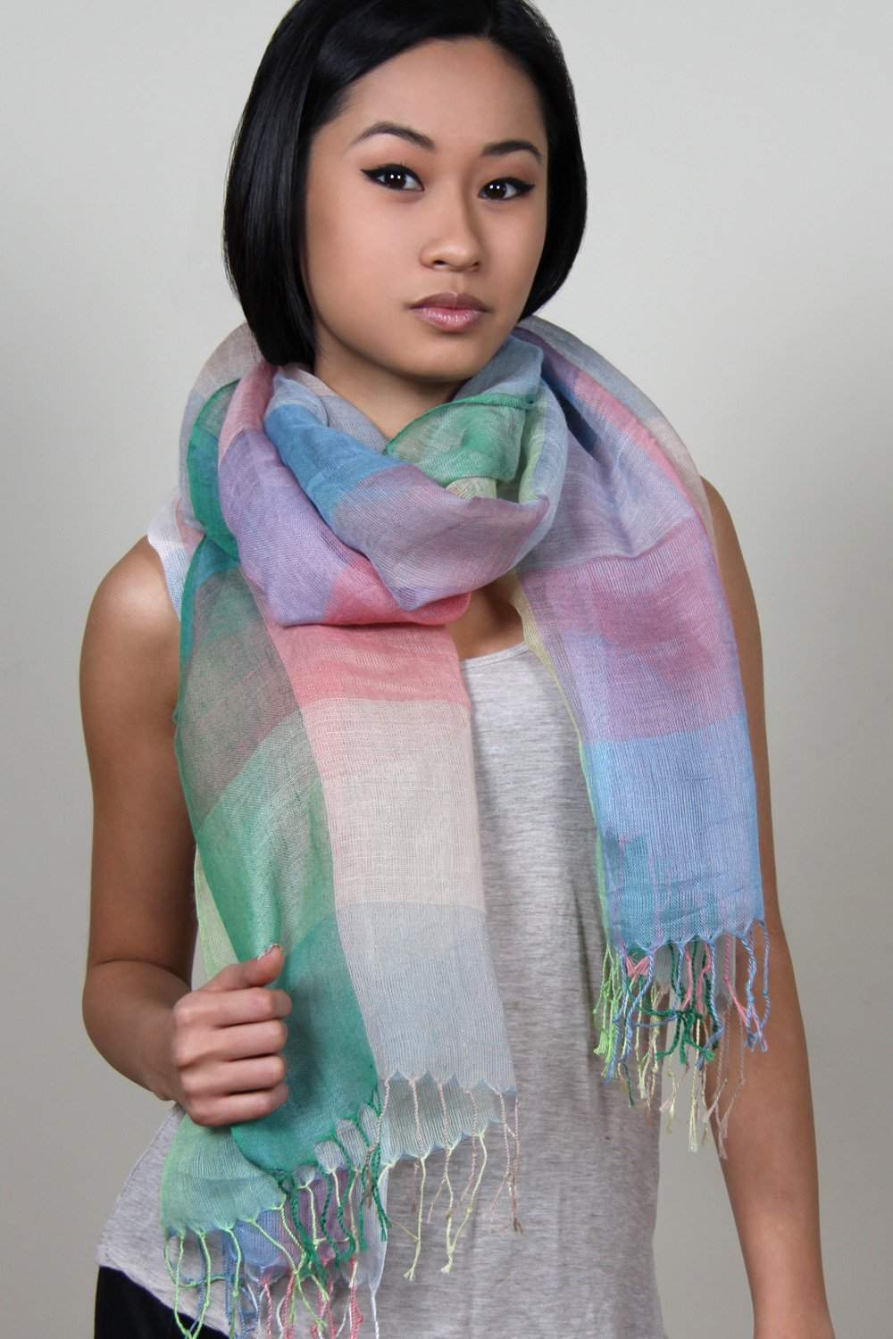 Green Peach Blue Purple Plaid Scarf