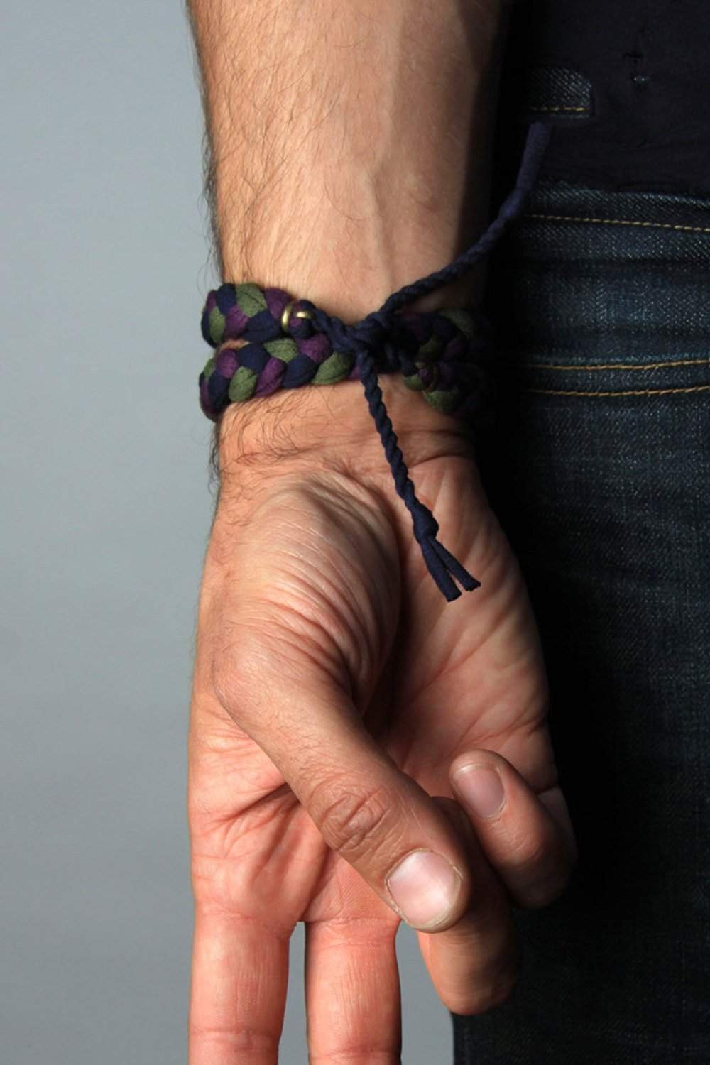 mens bracelet-Green Purple Blue Braided Bracelet-Necklush