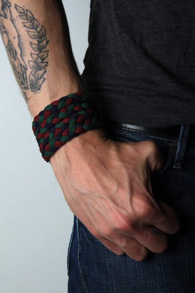 mens bracelet-Green Red Blue Braided Bracelet-Necklush
