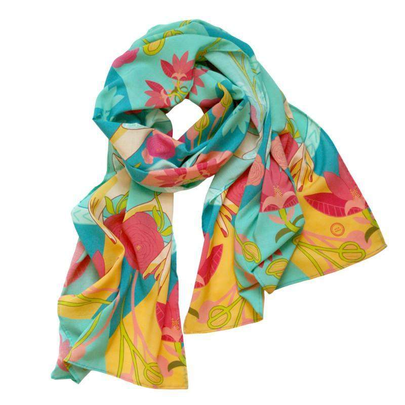 Green Teal Red Yellow Floral Scarf-scarves-Necklush