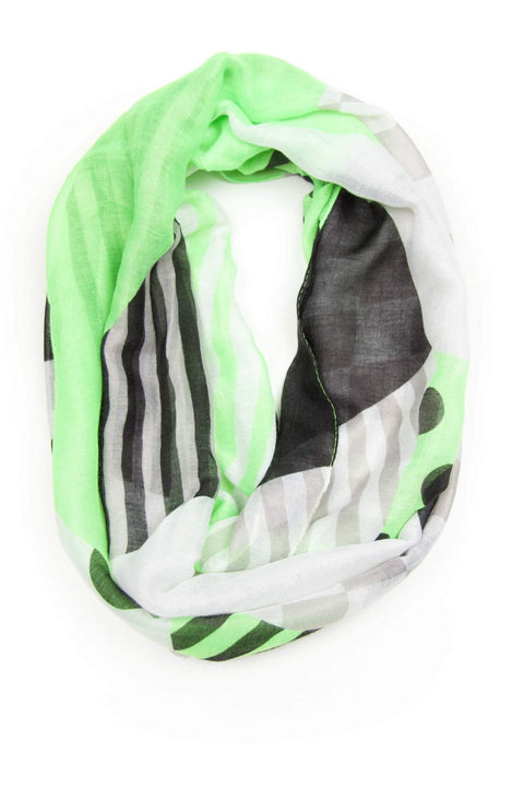 Green White Infinity Scarf-scarves-Necklush