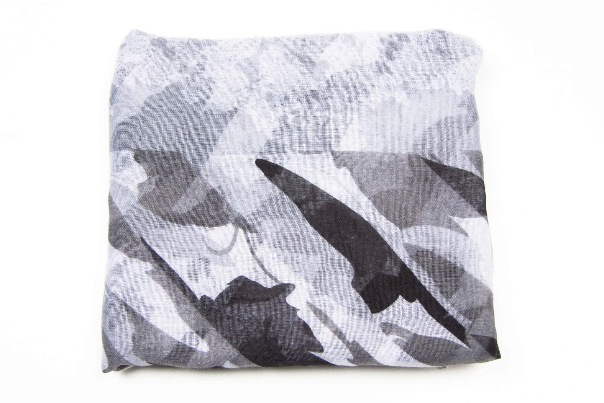 Grey White Womens Scarf-scarves-Necklush