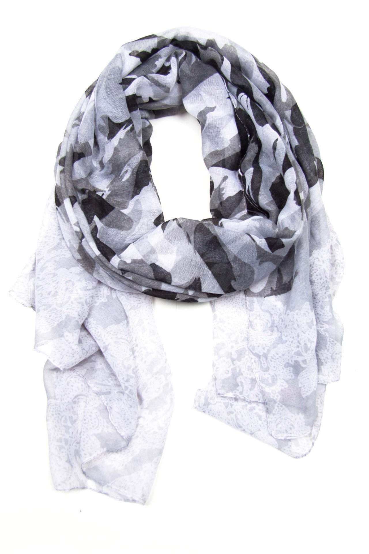 Grey White Womens Scarf