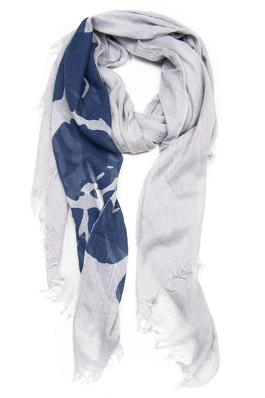 Grey with Blue Flower Scarf-scarves-Necklush