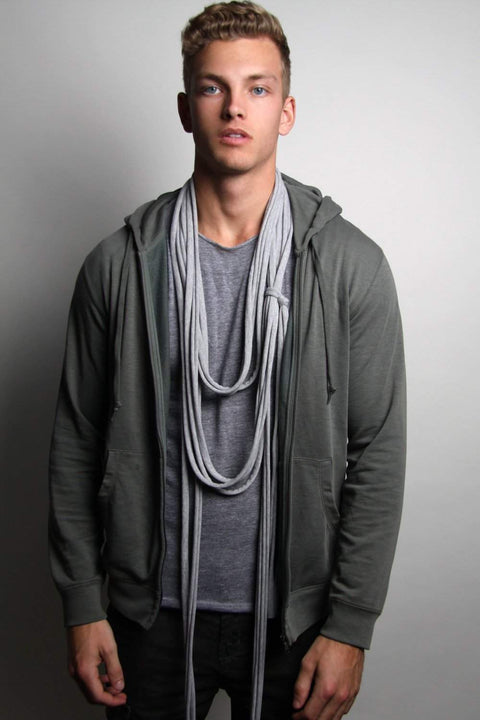 Heather Gray Long Scarf-scarves-Necklush