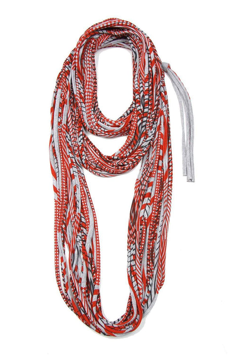 Heather Gray Red Cowl Scarf-scarves-Necklush