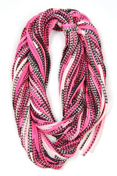 Hot Pink Black Chunky Scarf-scarves-Necklush
