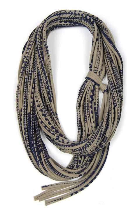 infinity scarves-Beige Blue Infinity Scarf-Necklush
