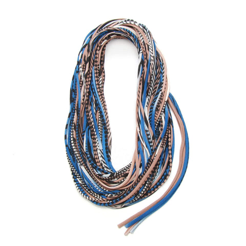 infinity scarves-Light Brown Blue Infinity Scarf-Necklush