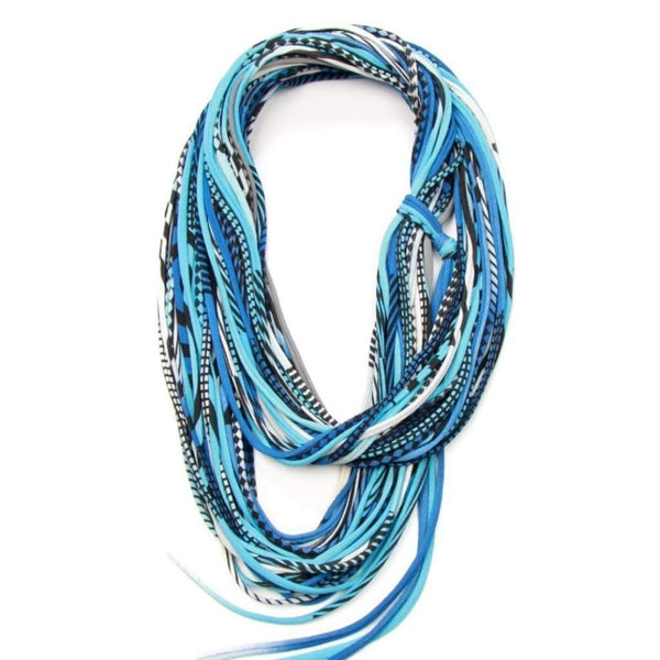 infinity scarves-Blues Black Infinity Scarf-Necklush