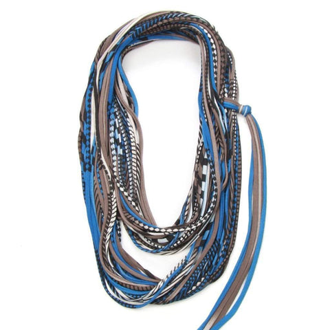 infinity scarves-Blue Brown Infinity Scarf-Necklush