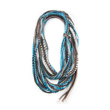 infinity scarves-Caribbean Blue Brown Black Infinity Scarf-Necklush