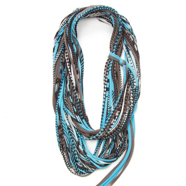infinity scarves-Light Blue Brown Infinity Scarf-Necklush
