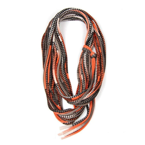 infinity scarves-Orange Brown Black Infinity Scarf-Necklush