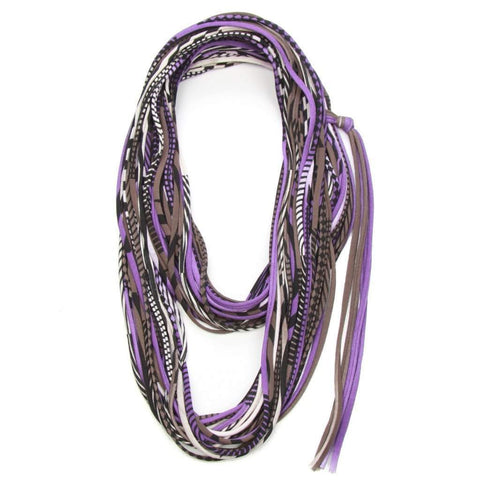 infinity scarves-Purple Brown Black Infinity Scarf-Necklush