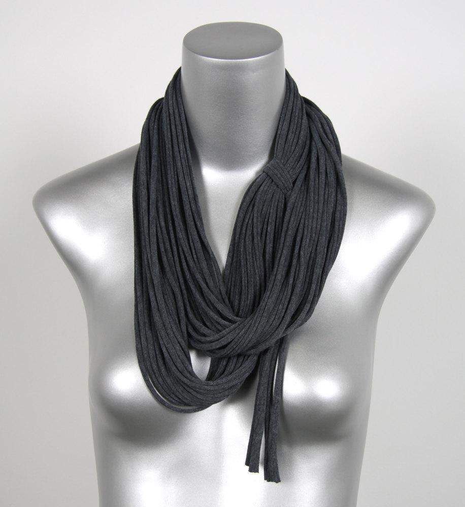 infinity scarves-Heather Charcoal Gray Infinity Scarf-Necklush