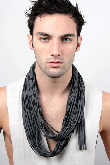 infinity scarves-Dark Gray Striped Infinity Scarf-Necklush