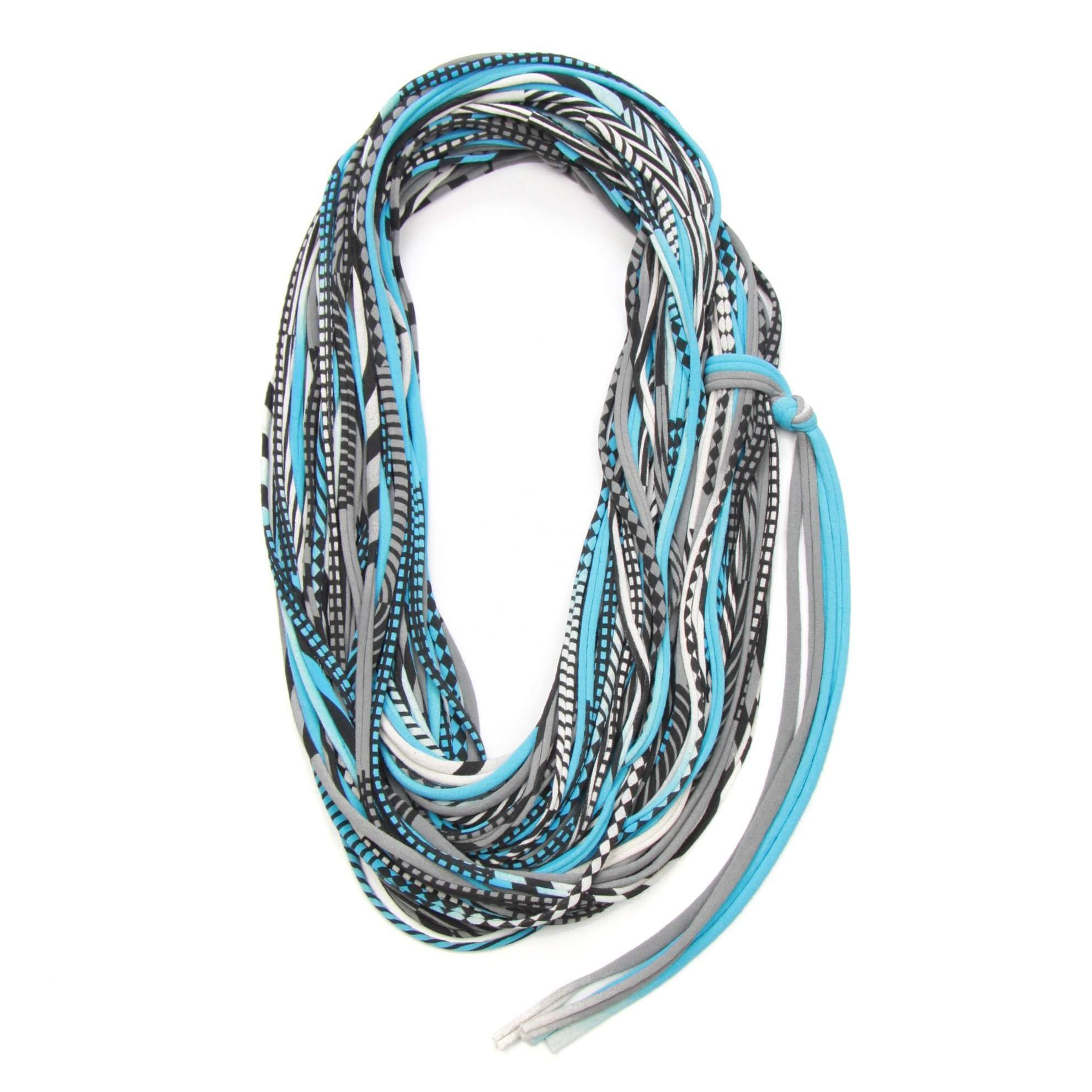 infinity scarves-Gray Light Blue Infinity Scarf-Necklush