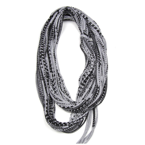 infinity scarves-Heather Gray Black Infinity Scarf-Necklush