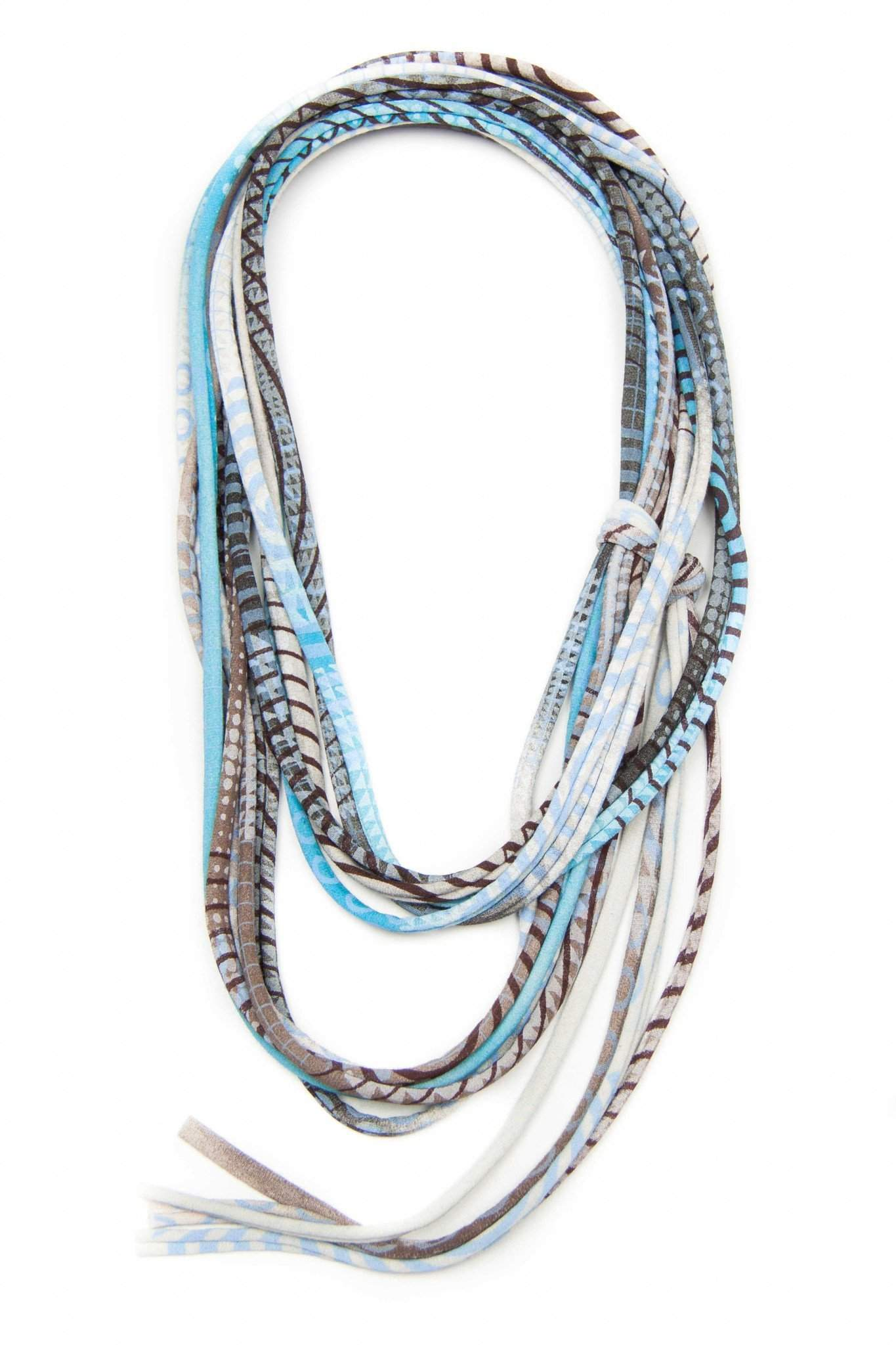 Light Blue Brown with Stripes / Skinny Scarf Necklace-scarves-Necklush